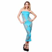 Платье эластичное длинное, голубое
