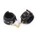 245-59 Наручники черные кожаные с черной подложкой