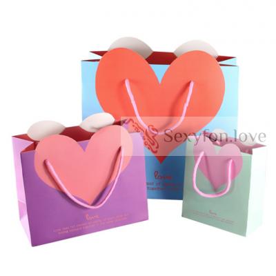 180-10 Пакет подарочный с сердцем, розовый