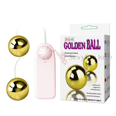 259-3 Золотистые вагинальные шарики на сцепке