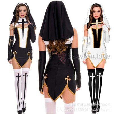 259-12 Костюм Хэллоуина сексуальная монахиня