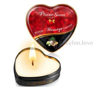 826067 Свеча Plaisirs Secrets в форме сердца, аромат экзотические фрукты 35мл