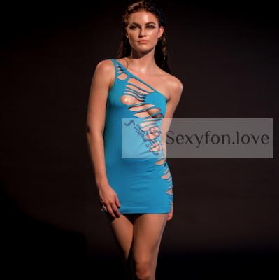 60-23 Платье эластичное на одно плечо, голубое