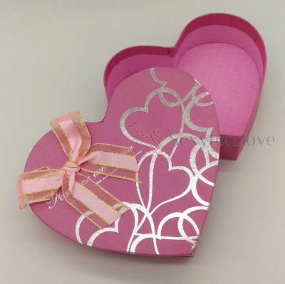 187-6 Коробка подарочная сердце, розовая с лентами