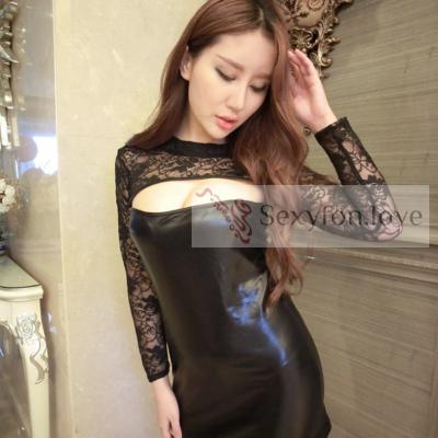 Мини-платье под латекс с кружевным верхом