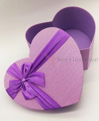Коробка-сердце большая сиреневая